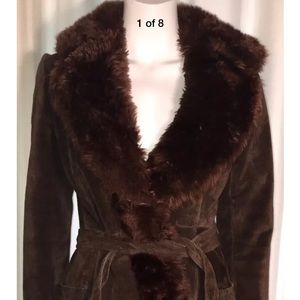 Vintage Saks Fifth Avenue Suede Leather Fur Coat